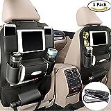 Organizador de asiento trasero para coche, de happyle, piel sintética, con soporte de iPad mini, color negro