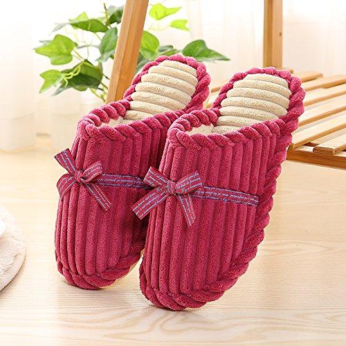 DogHaccd pantofole,In autunno e inverno il cotone pantofole femmina interni home morbida antiscivolo pantofole scarpe caldo giovane carino spessa di peluche Il rosso2