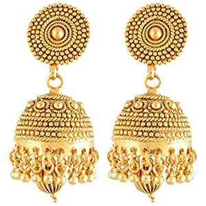 Nakshatra Collection Antique Gold Plated Copper Jhumka For Women