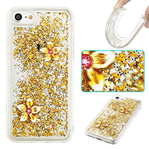 Ooboom® iPhone 5SE Hülle TPU Silikon Bumper Schutzhülle Handy Tasche Case Cover mit Funkeln Glänzend Bling Glitter - Gold Blätter Gold Schmetterling