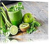Grüner BIO Smoothie Apfel Limette Kiwi Format: 100x70 auf Leinwand, XXL riesige Bilder fertig...