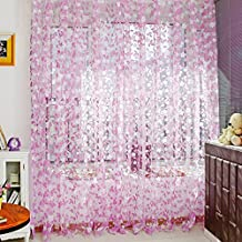 Kasit Cortinas de tul drapeadas, diseño de hojas, color rosa, para puertas o ventanas, para cuartos de baño, dormitorios, salas de estar o habitaciones infantiles