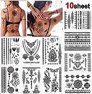 Konsait 10 Sheets Henna Temporary Tattoo Black Art Stickers Lace Mehndi Body Transfers Tattoo for Women Adult