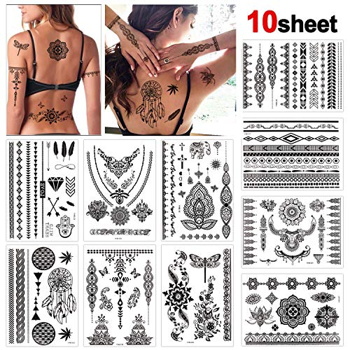 Konsait 10 fogli impermeabile tatuaggi temporanei finto tatuaggio temporaneo tattoo adesivi body art per bambini adulti donna (nero)