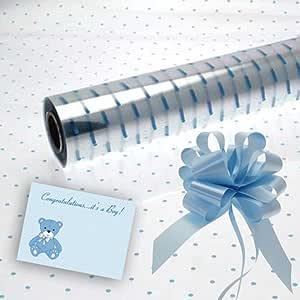 Silver Dot Cellophane Papier Cadeau Mariage Anniversaire paniers Pull Bow /& Bow Carte