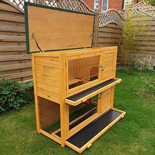 FeelGoodUK small animal barn on 2 levels, suitable for rabbits and guinea pigs, with free cover and feet elevated, 1.2 ° m - 3