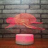 3D Lampara Led Luz Ilusión óptica Botón táctil color o 7 colores cambiar gradualmente Decoración del dormitorio del bebé regalo del día de San Valentín sueño asistido tartaruga di mare