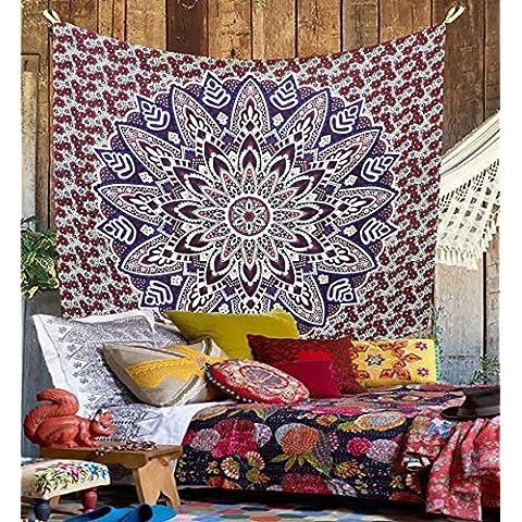 Wall Hanging Kesrie Mandala arazzo indiano hippy, Copriletto in cotone