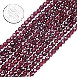 SHG store 4mm Rot Runde facettierte Edelstein Granat Perlen Strang 15 Zoll Schmuckherstellung Perlen