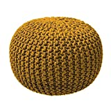 TODAY Pouf tricotWaby Sabi 100% coton 45xH30 cm safran