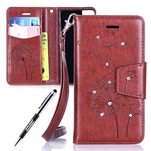 BQ Aquaris M4.5 Custodia, Cover per BQ Aquaris M4.5, JAWSEU BQ Aquaris M4.5 Custodia Portafoglio Pelle Protectiva Bumper [Shock-Absorption] Lusso 3D Sollievo Wallet Leather Flip Cover Custodia per BQ  Dente di leone Diamante, Marrone