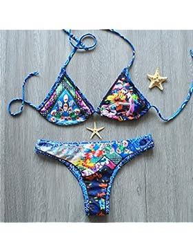 TIANLU Bikini Sexy conjuntos bañador de adelgazamiento trajes de baño Moda Correa de sujeción, Azul Serie L