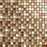 Glas und Naturstein Mosaik Fliesen Matte in Braun, Beige und Rot Glänzend und Matt. 30cm x 30cm Matte (MT0065)