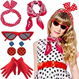 Yansion 1950s Accesorios de Disfraz,Bufanda Gafas de Ojo de Gato Diademas Aretes y Guantes 50s Accesorios de Vestuario Jugar a disfrazarse para Mujer niños(Rojo)