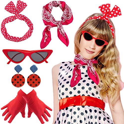 Yansion 1950s Kostüm Damen Accessoires Set 50er Jahre Halloween Kostüm Zubehör Inklusive Polka Dots Bandana Haarband Ohrringe Handschuhe Katzenaugen Sonnenbrille ()
