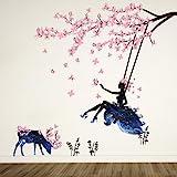 ufengke Chica en Árbol Swing y Silueta de Alces Pegatinas de Pared con Mariposas Rosadas Decorativo Extraíble DIY Vinilo Pare