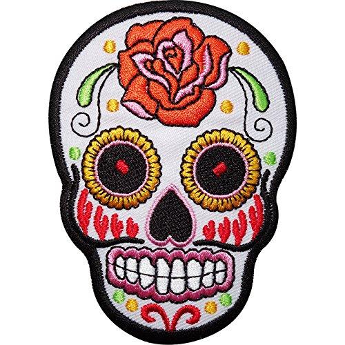 Mexico Totenmaske Sugar Skull Rockabilly Biker Tattoo Aufnher Aufbgler Patch, mehrfarbig -