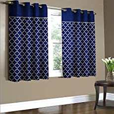Home Candy Dual Panel Solid 2 Piece Polyester Window Curtains - 5ft, Royal Blue