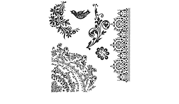 Stampers Anonymous Tim Holtz Tampons Collants /à Poser 17,8/cm x 21,5 cm Motif Tatouage Floral Multicolore