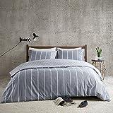 URBAN HABITAT Mordern Stripe 3-teilig Bettwäsche Set mit klassischen Streifen & Karomuster 100% Baumwolle Bettgarnitur Geometrisch King Size Bett (230x220+50x75cm)