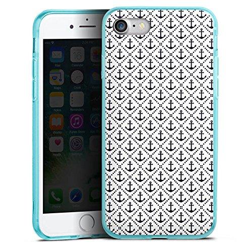 Apple iPhone 8 Silikon Hülle Case Schutzhülle Anker Anchor Muster Silikon Colour Case eisblau