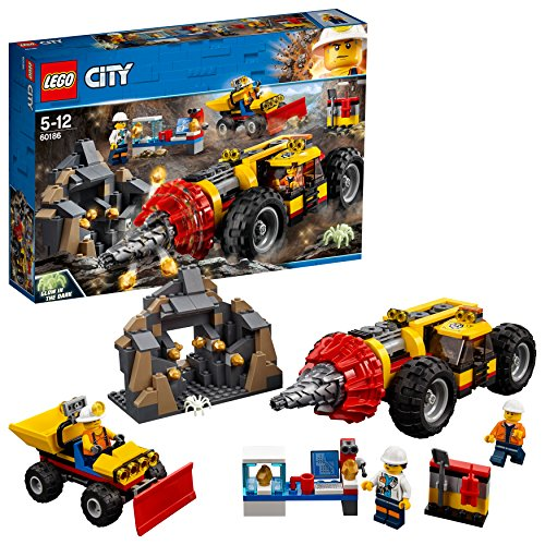 LEGO City 60186 - Bergbauprofis Schweres Bohrgerät für den Bergbau, Unterhaltungsspielzeug