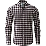 Charles Wilson Long Sleeve Plaid Flannel Shirt (XXX-Large, Burgundy)