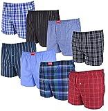 8 Stück Herren Boxershorts, lockere, Gewebte Boxer aus Baumwolle, Verschiedene Karierte und Gestreifte Design gemischt, Loose fit, Gr. S