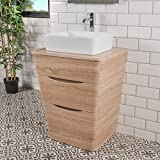 Badezimmer 650 Waschtisch Unterschrank Eiche Hell & Aufsatz Waschbecken Rechteck