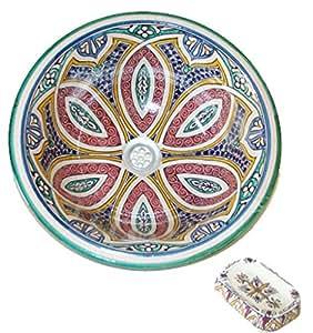Vasque marocaine en céramique 40cm à poser ou à encastrer avec porte savon assorti lavabo maroc