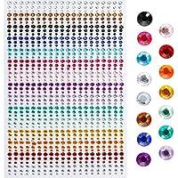 Faburo 900 Pièces Pierres Précieuses Adhésif Strass Cristal Autocollants, 3mm, 4mm, 5mm, Acrylique Coloré Strass…
