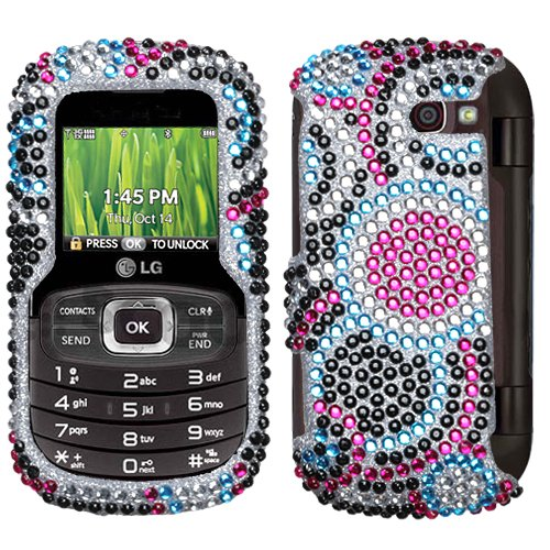 Hartschalenhülle für LG VN530 (Kunststoff, aufsteckbar, Motiv Oktane mit Strasssteinen) (Handy Case Lg Octane)