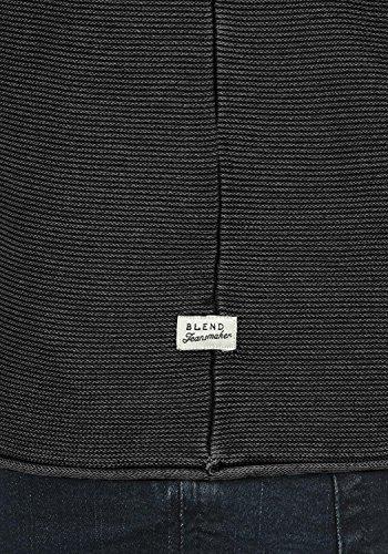 BLEND Oddone Herren Strickpullover Feinstrick Pulli mit Rundhals-Ausschnitt aus 100% Baumwolle Phantom Grey (70010)
