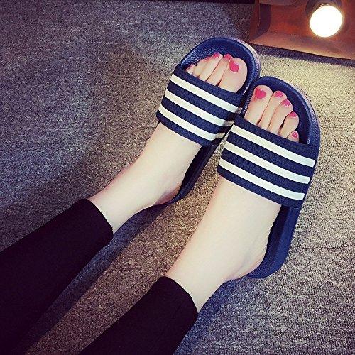 Cwjdtxd pantofole estive pistoni di estate estate femminile stanza da bagno interna habitat casa skid mese sandali della donna in stato di gravidanza sull'hotel tv uomini con leggerezza, 37-38, blu scuro (tre barre)