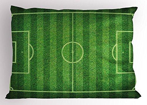 ragazzo stanza del cuscino Sham, realistico verde erba campo di calcio sport hobby concorrenza campo, standard Queen Size decorativo stampato federa, 76,2x 50,8cm, colore: Verde lime verde felce