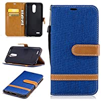 For LG K10 2017 Case [with Free Screen Protector], Qimmortal(TM) Premium Soft PU Leather Cowboy Cloth Wallet Cover Case with [Kickstand] Credit Card ID Slot Holder Magnetic Closure Design Folio Flip Protective Slim Skin Cover For LG K10 2017(Blue)