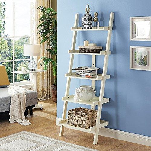 Shelves Duo Bücherregal 5 Regale Lehnende Leiter Bücherregal, 5 Tiers Bücherregal Display Wand Lagerregal Einheit Hängeregal, (Farbe : Milchig Weiß) (Wand-storage-einheiten)