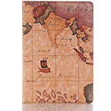 Martex For Huawei MediaPad M5 10.8 Inch World Map Pattern Ultra Thin Light PU Leather Flip Stand Wallet Case,Cover With Card Holders (Brown)