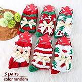 Weihnachts-Socken aus Korallen-Samt, 3 Paar, lässig, elastisch, für Herbst/Winterbett, gemütliche warme Socken, süße Weihnachts-Bodensocken, Weihnachtsdekoration Free Size Zufällige Farbauswahl