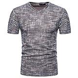 Rawdah Nouveau Mode T-Shirt à Manches Courtes Brossé Couleur Unie Été Confort Sportswear Loisirs Summer Casual SOID Trou V Neck Pullover T-Shirt Top Blouse (L, Café)