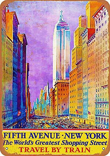 WallAdorn New York Fifth Avenue Travel by Train Eisen Poster Malerei Blechschild Vintage Wanddekoration für Cafe Bar Pub Home