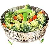 GA Homefavor Vapeur pour Légumes Cuisinier à Légumes, Paniers Cuit-Vapeur en Acier Inoxydable Ustensile de Cuisson avec Poignée Extensible