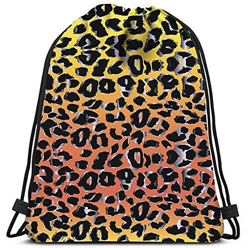 AllenPrint Bolsas De Cuerdas,Fondo De Leopardo Sin Costuras Mochilas para Adolescentes Adultos Niños