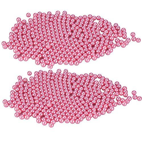 Perlen für Make-up Bürstenhalter Organizer, aiyoo 1500 pcs Highlight Kunststoff rund Perlen, Durchmesser 8 mm, DIY Art Faux Perlen, Make Up Pinsel Halter Zubehör rose -