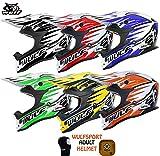 NEW WULF SPORT ADULT ADVANCE MOTOCROSS MOTORBIKE OFF ROAD TRACK RACE MX QUAD HELMET AND GRID BALACLAVA (MEDIUM, GREEN)