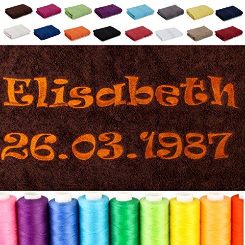 AR Line Besticken Sie Handtuch mit Namen + Datum oder mit Wunschtext Bestickt, Farbe: Pink, Größe: Duschtuch 70 x 140 cm
