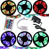 Noza Tec® 5M RGB 3528 300 Led Strips Lighting Full Kit With 24Key IR Remote +2A AC UK Power Supply For Home lighting and Kitchen (Non-Waterproof)