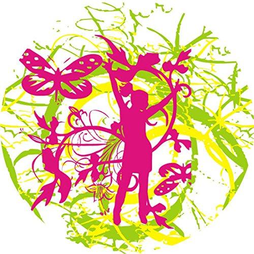 T-Shirt E477 Schönes T-Shirt mit farbigem Brustaufdruck - Logo / Grafik - abstraktes Design - Retro Tribal mit Frauensilhouette und Rankengewirr Schwarz