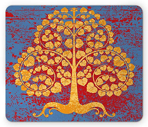Asian Mouse Pad, Ancient Bodhi Tree Swirled Branches Artwork Grunge Style Abstract Backdrop, Standard Size Rectangle Non-Slip Rubber Mousepad, Marigold Blue Red
