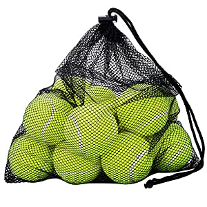 Tennis Balls, OMorc 12 Pack Sport Play Cricket Dog Toy Ball with Mesh Carrying Bag, Sturdy & Durable, - Great For Lessons, Practice, Throwing Machines & Playing with Pets Review 2018
